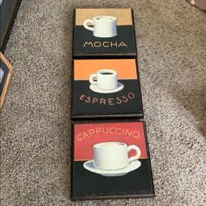 Set of 3 Decorative Coffee Pics